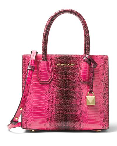 Mercer Medium Snake-Embossed Messenger Bag