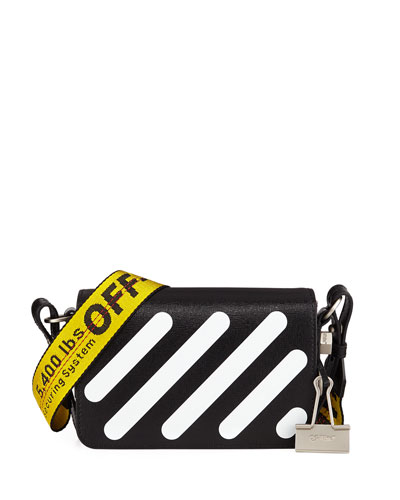 Diagonal Stripe Mini Flap Clutch Bag with Binder Clip