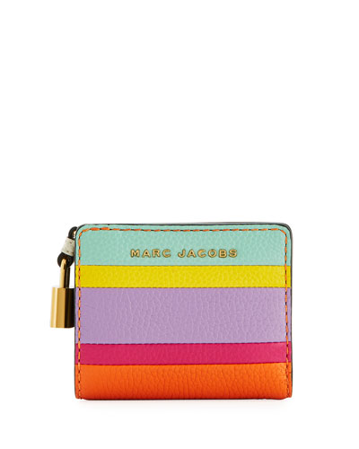 Mini Compact Striped Wallet