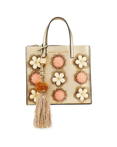The Grind Flower Embellished Tote Bag
