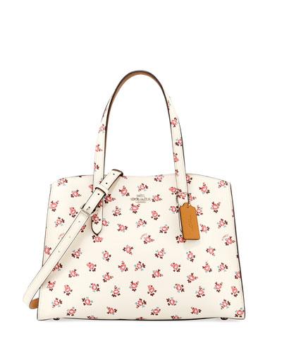Charlie Floral Bloom Leather Carryall Tote Bag