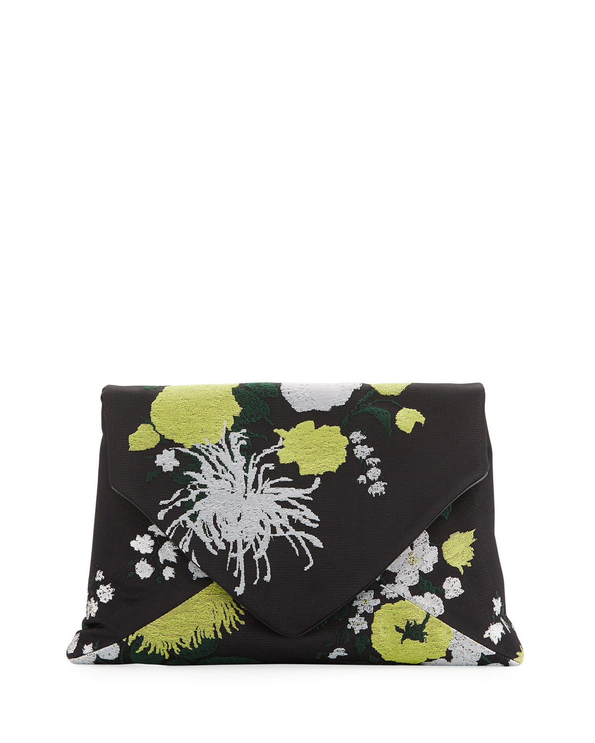 Embroidered Twill Envelope Clutch Bag