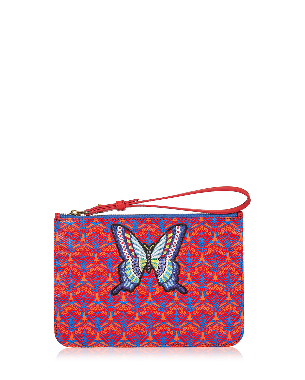 Multi Butterfly Patch Wristlet Bag