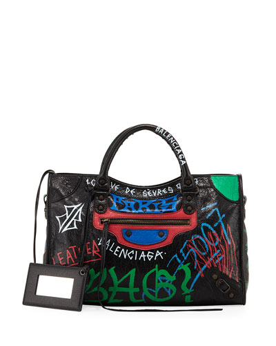 Classic City Graffiti-Print Satchel Bag