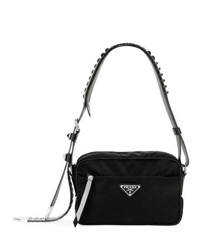 1b0d7d75f3d1 Studded Leather Shoulder Bag | Neiman Marcus PRADA Large Olive Nylon  Shoulder ...
