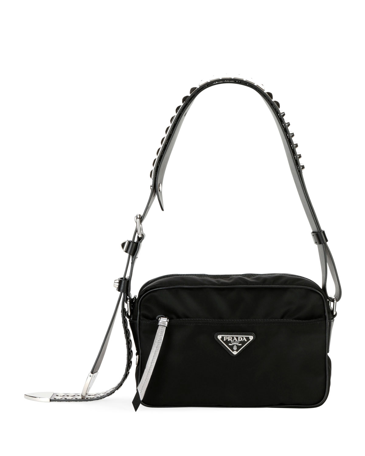 Prada Black Nylon Shoulder Bag with Studding