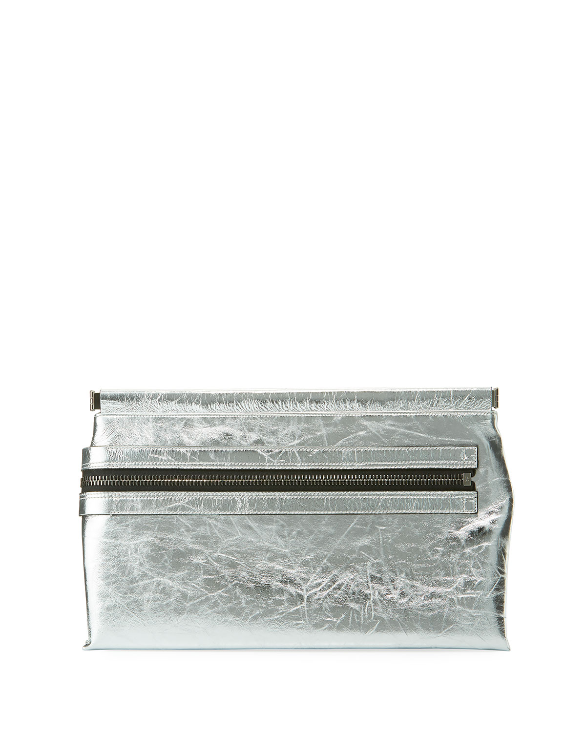 Flat Metallic Leather East-West Frame Clutch Bag