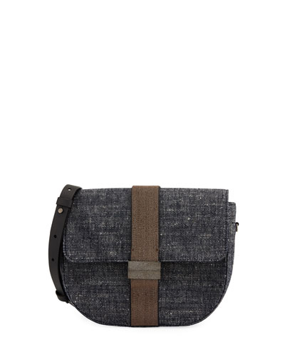 Denim and Monili Crossbody Bag