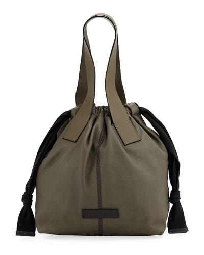 Shiny Stitched Drawstring Shoulder Bag