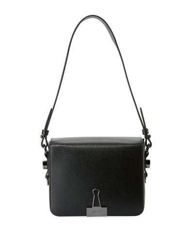 Saffiano Flap Shoulder Bag with Binder Clip Detail
