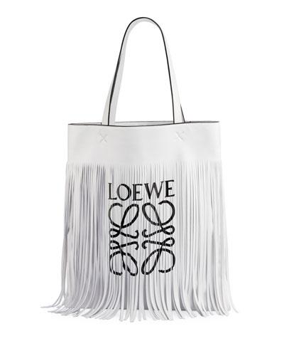 Vertical Fringe Logo Tote Bag
