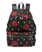 Rose-Print Satin City Backpack