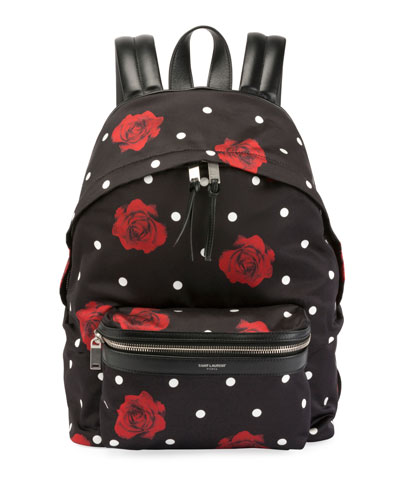 City Mini Rose Print Satin Backpack - Black in Noir