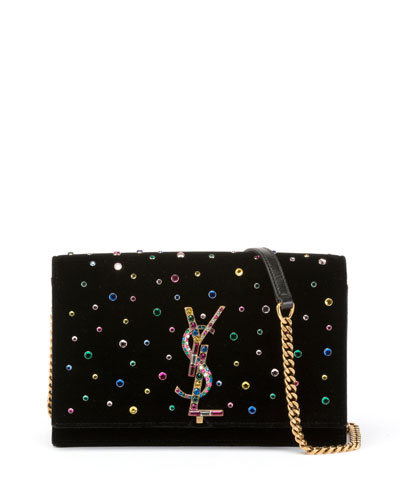 Kate Jeweled Velvet Small Wallet on Chain