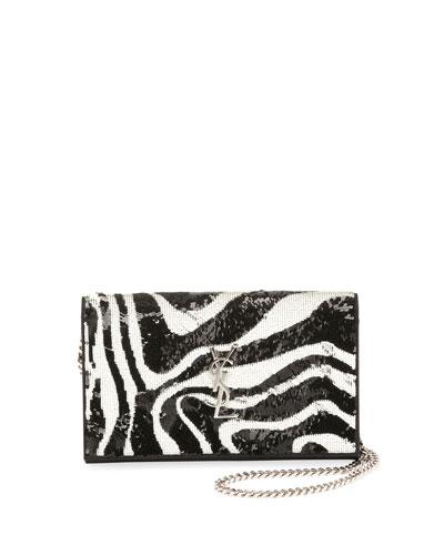 Kate Small Zebra Sequin Tassel Crossbody Bag
