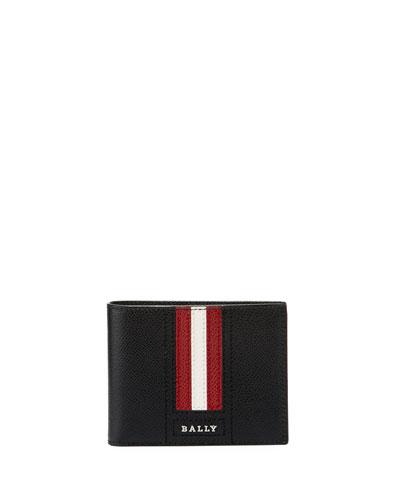 Tevye Striped Leather Bi-Fold Wallet, Black