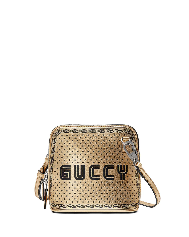 Guccy Script Dome Metallic Leather Crossbody Bag