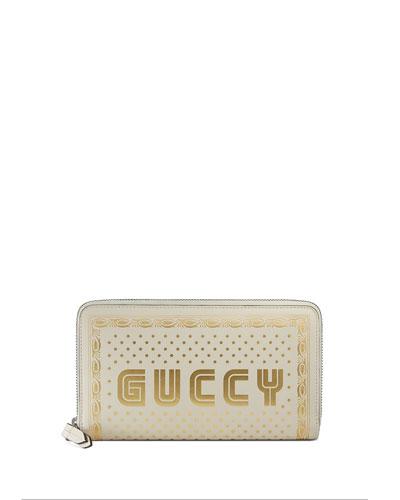 Guccy Script Zip-Around Wallet