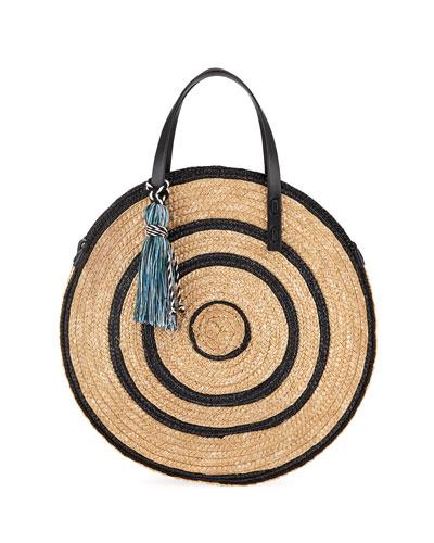 Colorblock Straw Circle Tote Bag
