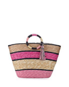 Striped Woven Straw Tote Bag