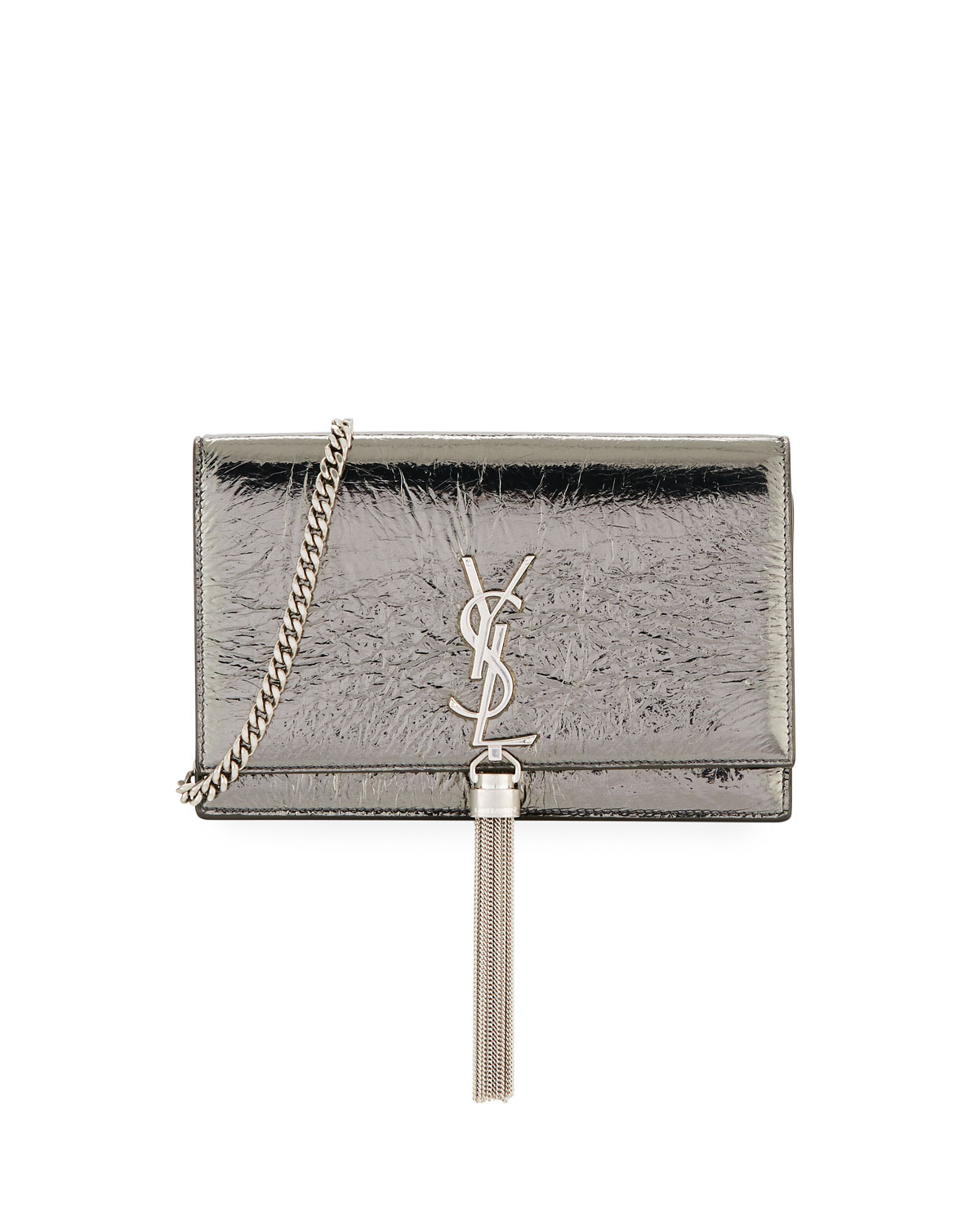 Kate Crinkled Metallic Tassel Wallet on Chain - Nickel Hardware