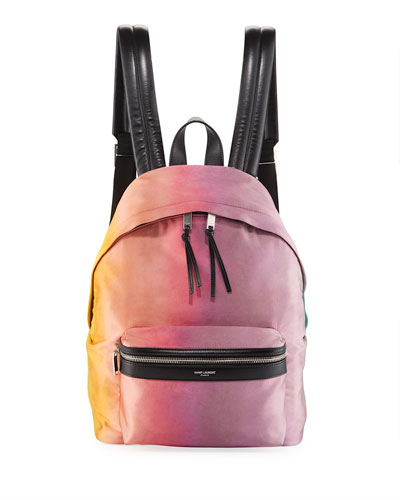 Large Tie-Dye Satin Backpack in Multi Pattern
