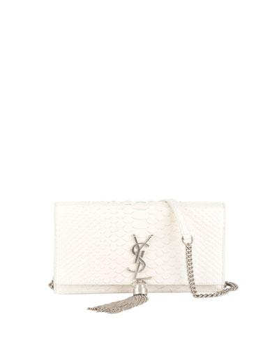 Kate Monogram Small Shiny Python Tassel Wallet on Chain