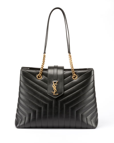 Loulou Monogram YSL Large Quilted Shoulder Tote Bag - Lt. Bronze Hardware