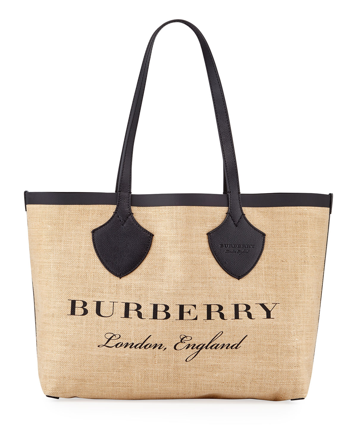 Medium Giant Printed Jute Shoulder Tote Bag