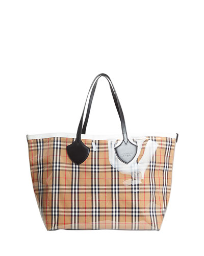 Giant Transparent Vintage Check Tote Bag