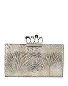 Knuckle Python Flat Clutch Bag