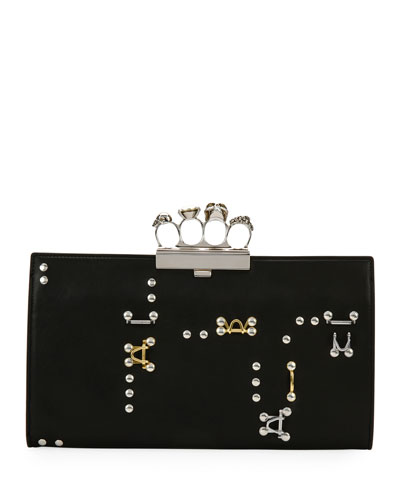 Knuckle Hook Leather Flat Clutch Bag