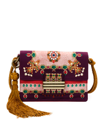 Small Rainbow Soft Satin Jeweled Crossbody Bag