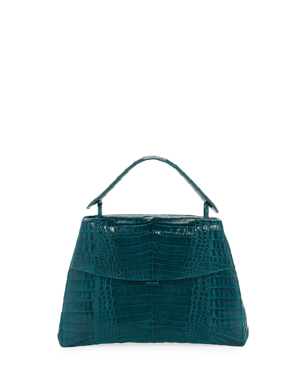 Curved-Bottom Medium Crocodile Top-Handle Bag