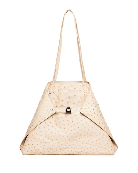 Akris AI Medium Soft Ostrich Shoulder Bag