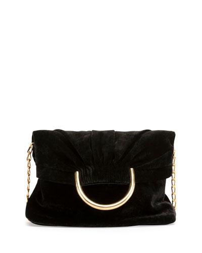 Nina Velvet Fold-Over Shoulder Bag
