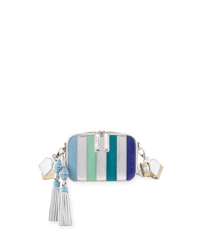 Sophie Snakeskin Camera Crossbody Bag, Blue