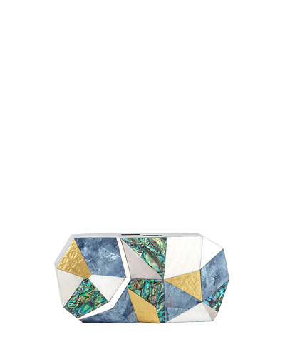 Vivienne Faceted Shell Minaudiere Clutch Bag