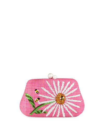Rosie Small Straw Clutch Bag with Daisy Flower
