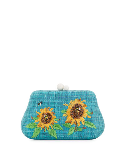 Rosie Small Straw Clutch Bag with Sunflowers