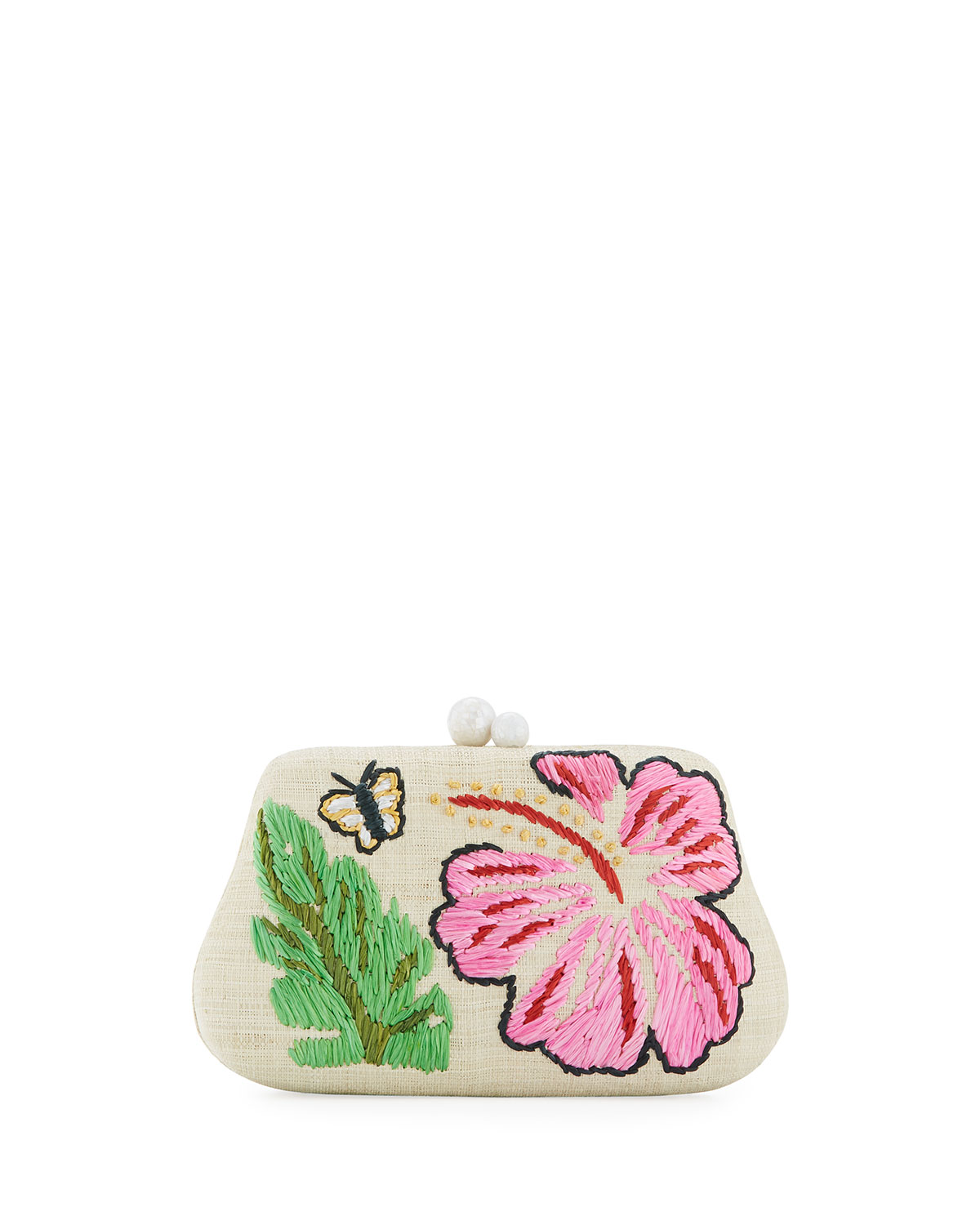 Rosie Small Straw Clutch Bag with Hibiscus & Butterfly