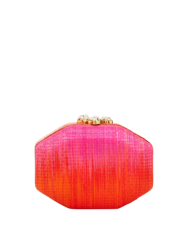 Sofia Straw Ombre Polygon Clutch Bag