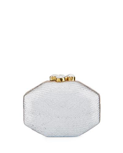 Sofia Straw Clutch Polygon Bag, Silver