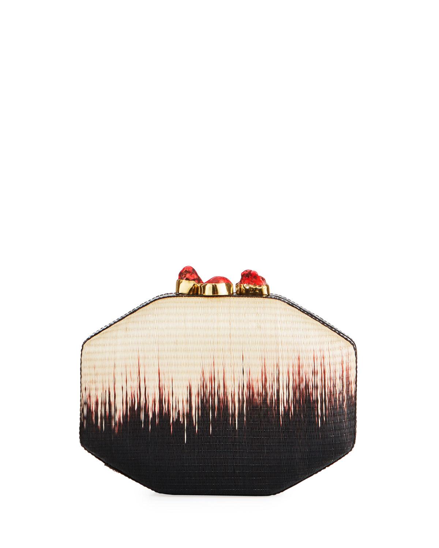 Sofia Straw Ombre Clutch Bag, Multi