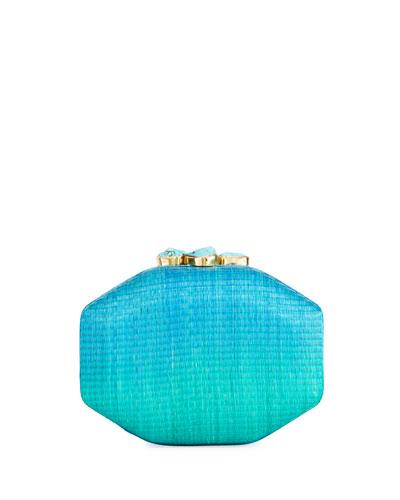 Sofia Straw Ombré Clutch Bag, Blue