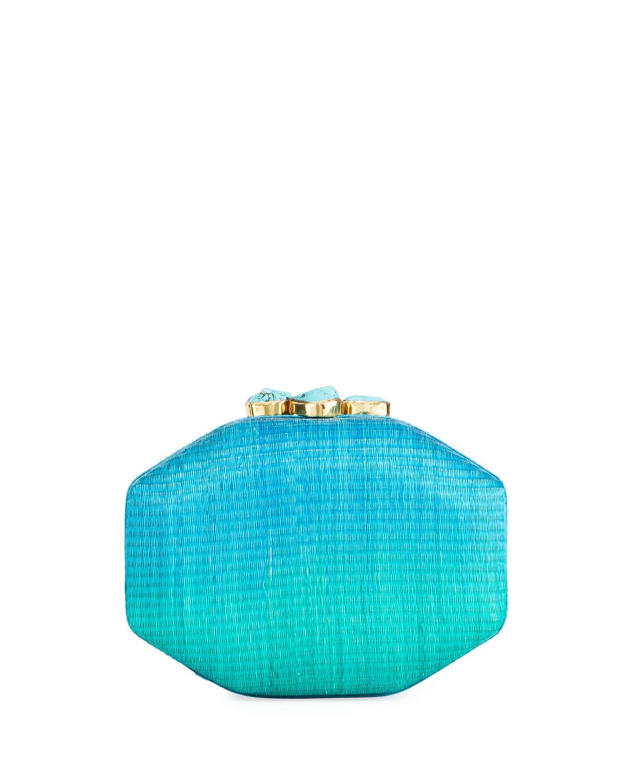 Sofia Straw Ombre Clutch Bag, Blue