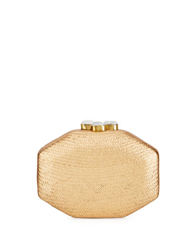 Sofia Straw Clutch Bag, Gold