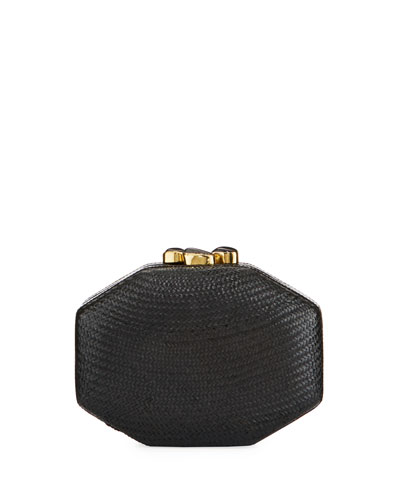 Sofia Straw Clutch Bag, Black