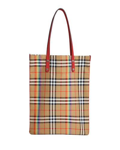 Vintage Rainbow Check Large Shopper Tote Bag