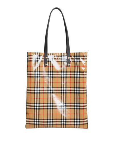 Coated Vintage Check Large Shopper Tote Bag